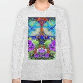 """BLUE """"ZINGER"""" DRAGONFLIES  & PURPLE FLOWERS ART Long Sleeve T-shirt"""