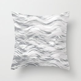 Silver Waves Throw Pillow
