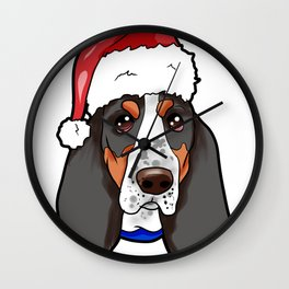 Basset Hound Dog Christmas Hat Wall Clock