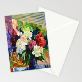 Peonies and lupins Stationery Cards