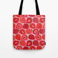 strawberry Tote Bags featuring Strawberry by Helene Michau
