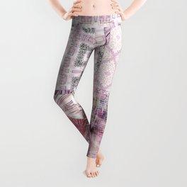 Soft Rose, Cream & Soft Gray, Silver Gray Tiles / Collage Leggings