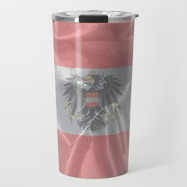 Silk Austrian Flag and Coat of Arms Travel Mug