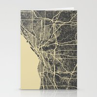 cleveland Stationery Cards featuring Cleveland map by Map Map Maps