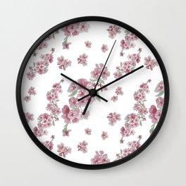 Sakura watercolor pattern Wall Clock