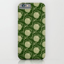 Floral Pattern | Subtle Green on Forest Green iPhone Case