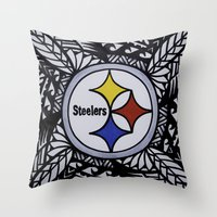 steelers Throw Pillows featuring Steelers Poly Style by Lonica Photography & Poly Designs