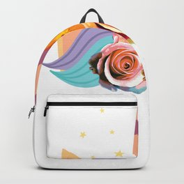 Cute Sleeping Unicorn with Flowers T-Shirt. Backpack