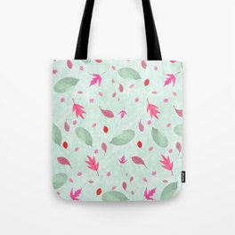 Abstract watercolor green marble pink leaves pattern Tote Bag