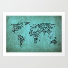 Teal Star World Map Art Print