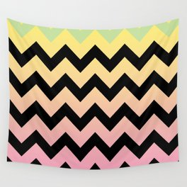 Yellow and Pink Chevron Wall Tapestry