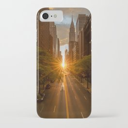 ManhattanHenge - sun setting along 42nd Street iPhone Case