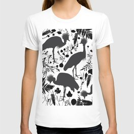 Black crowned crane with grass and flowers black silhouette T-shirt