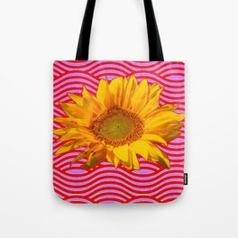 GOLDEN YELLOW SUNFLOWER RED-PURPLE ABSTRACT Tote Bag
