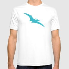 Pterodactyl Dinosaur Turquoise Blue MEDIUM White Mens Fitted Tee