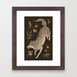 The Wolf and Rose Hips Framed Art Print