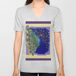 Puce Purple Blue Peacock Abstract Art Unisex V-Neck