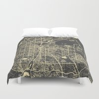 denver Duvet Covers featuring Denver map by Map Map Maps