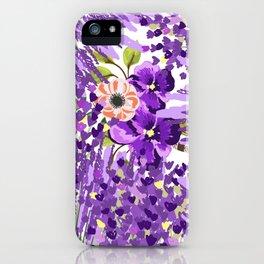 Lilac violet lavender lime green floral illustration iPhone Case
