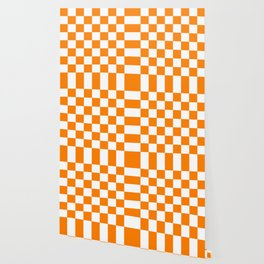 Checker (Orange/White) Wallpaper