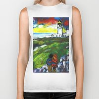 lighthouse Biker Tanks featuring lighthouse by Nastya Bo