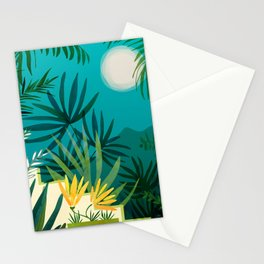 Rainforest With Moonlight / Tropical Night Series #3 Stationery Cards