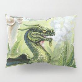 Smoking Dragon in Cannabis Leaves Pillow Sham