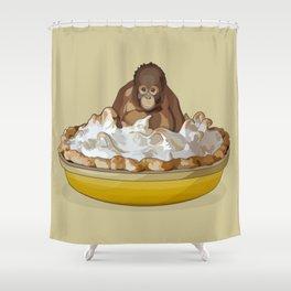 Lemon 'Merangutan' Pie - Orangutan Monkey in Lemon Meringue Pie Shower Curtain