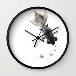 Black Fish, feng shui zen brush minimalist ink art design Wall Clock