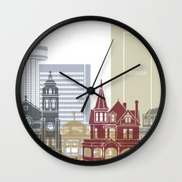 Phoenix skyline poster Wall Clock
