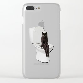 Toilet Cat Clear iPhone Case