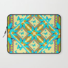 Western Style Turquoise Butterflies Creamy Gold Patterns Art Laptop Sleeve