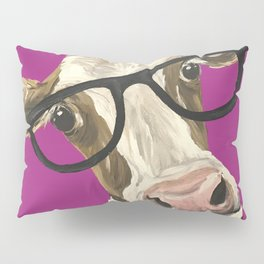Cute Glasses Cow, Colorful Cow With Glasses Pillow Sham