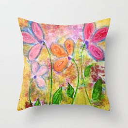 Flowers for My Daughters Throw Pillow