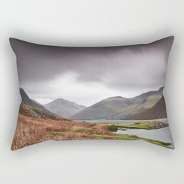 Rain clouds over Scafell and Great Gable. Wastwater, Cumbria, UK. Rectangular Pillow