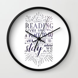 Reading gives us a place to go - inversed Wall Clock