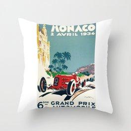 Grand Prix Monaco, 1934, vintage poster Throw Pillow
