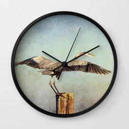 Blue Heron Landing Wall Clock