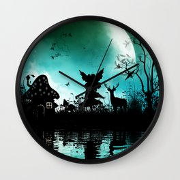 Litte fairy with deer in the night Wall Clock