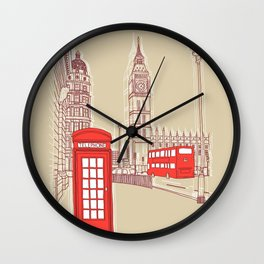 City Life // London Red Telephone Box Wall Clock