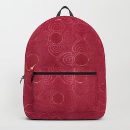 Abstract Art Deco Distressed Geometric Red Flowers with Golden Yellow Circles Backpack