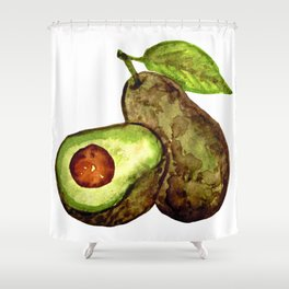 AVOCADO - watercolor painting Shower Curtain