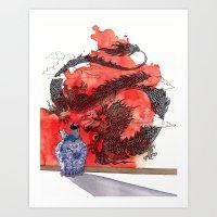 tintin Art Prints featuring Tintin, Le Lotus Bleu by Renee Nault
