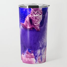 Outer Space Galaxy Kitty Cat Riding On Llama Travel Mug