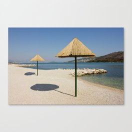 Beautiful Remote Beach Near Trogir In Croatia Canvas Print