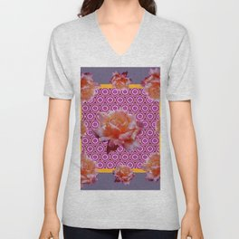 GREY ABSTRACT ANTIQUE ROSES FUCHSIA FLORAL Unisex V-Neck