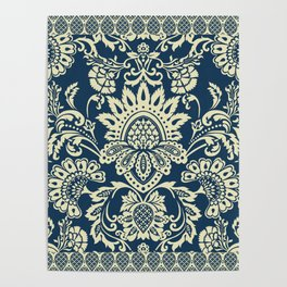 damask in white and blue vintage Poster