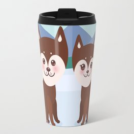 Kawaii funny brown husky dog, face with large eyes and pink cheeks, boy and girl, mountain landscape Travel Mug