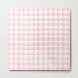 Pale Millennial Pink Pastel and White Houndstooth Check Metal Print