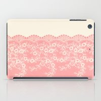 aelwen iPad Cases featuring Lace #CoralPink by Armine Nersisian